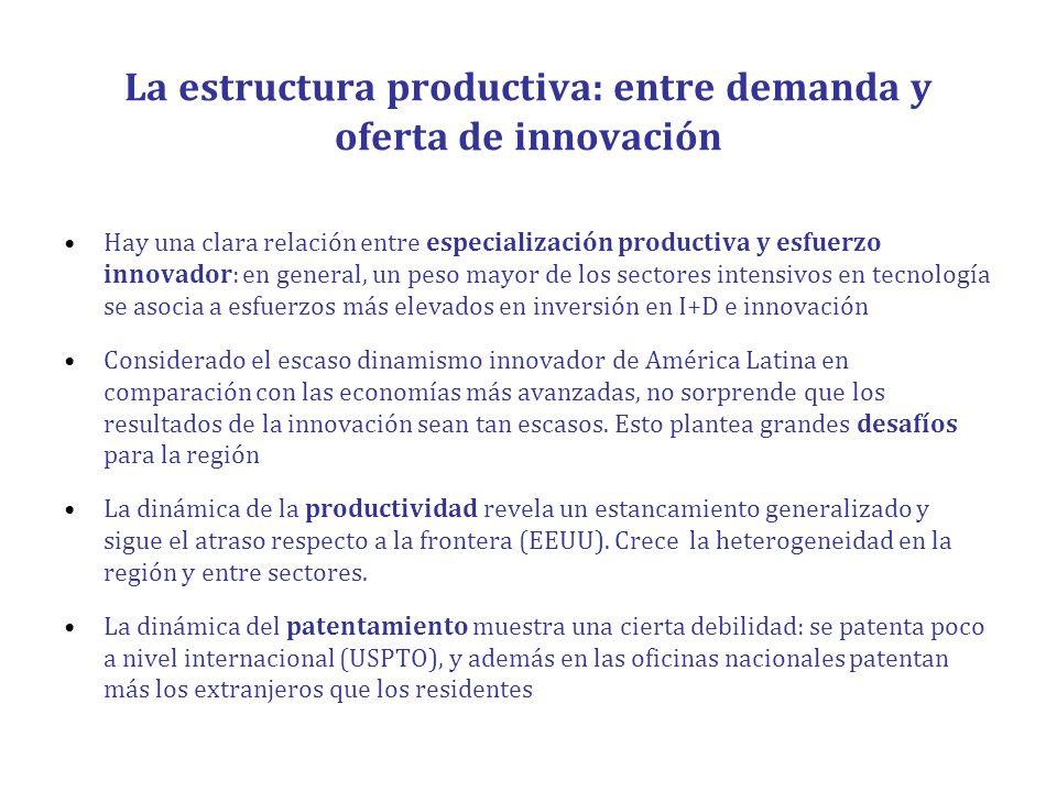 La estructura productiva: entre demanda y oferta de innovación Hay una clara relación entre especialización productiva y esfuerzo innovador: en genera