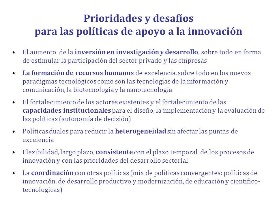 Prioridades y desafíos para las políticas de apoyo a la innovación El aumento de la inversión en investigación y desarrollo, sobre todo en forma de es