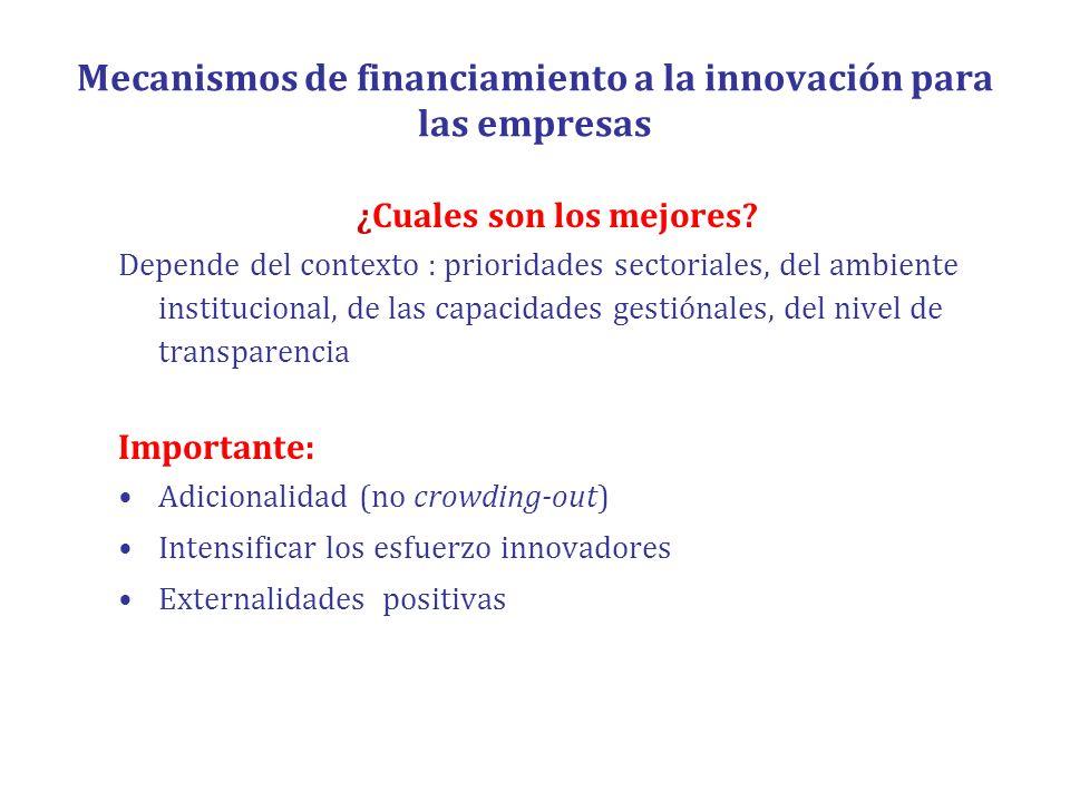 Mecanismos de financiamiento a la innovación para las empresas ¿Cuales son los mejores? Depende del contexto : prioridades sectoriales, del ambiente i