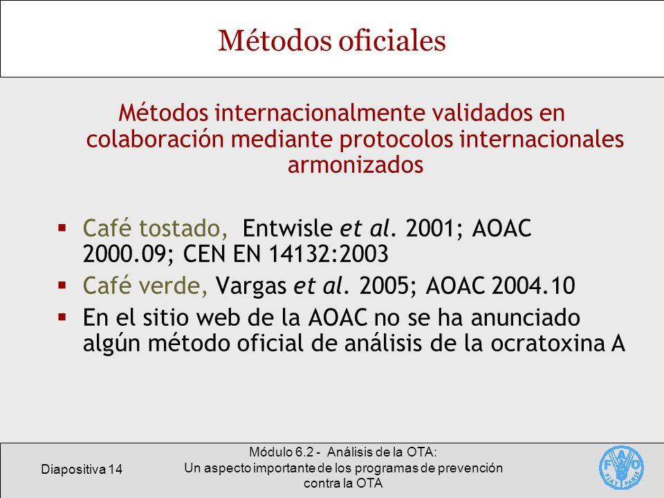 Diapositiva 14 Módulo 6.2 - Análisis de la OTA: Un aspecto importante de los programas de prevención contra la OTA Métodos oficiales Métodos internaci