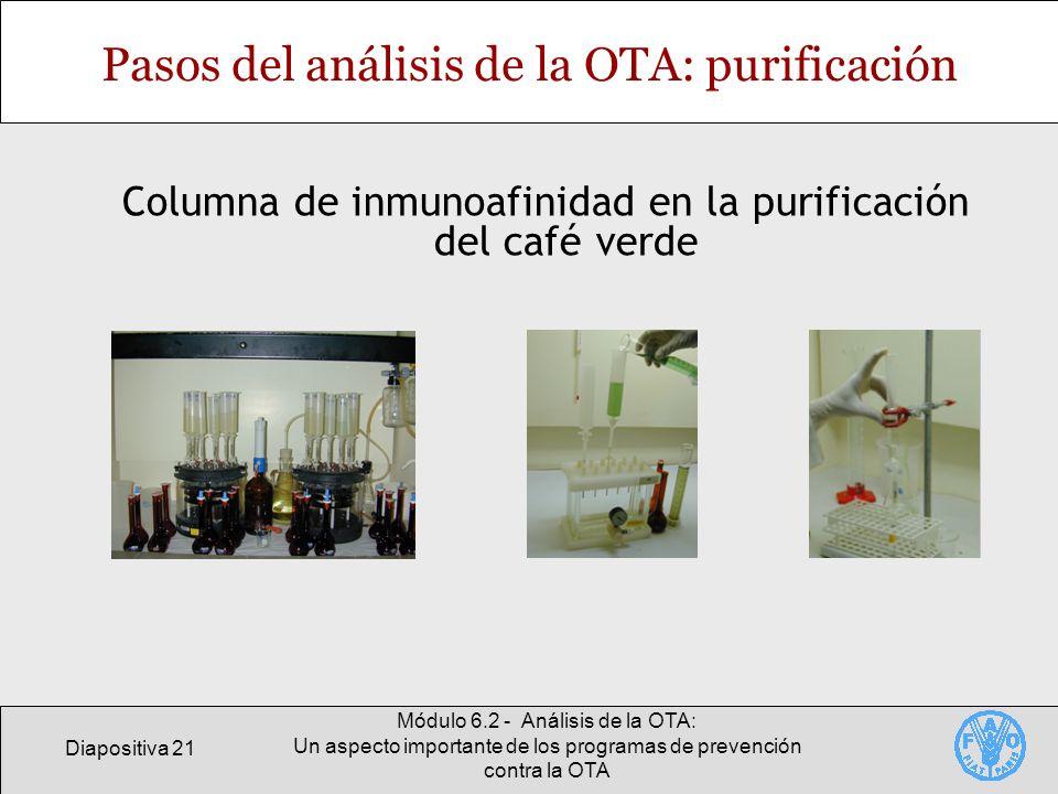 Diapositiva 21 Módulo 6.2 - Análisis de la OTA: Un aspecto importante de los programas de prevención contra la OTA Pasos del análisis de la OTA: purif