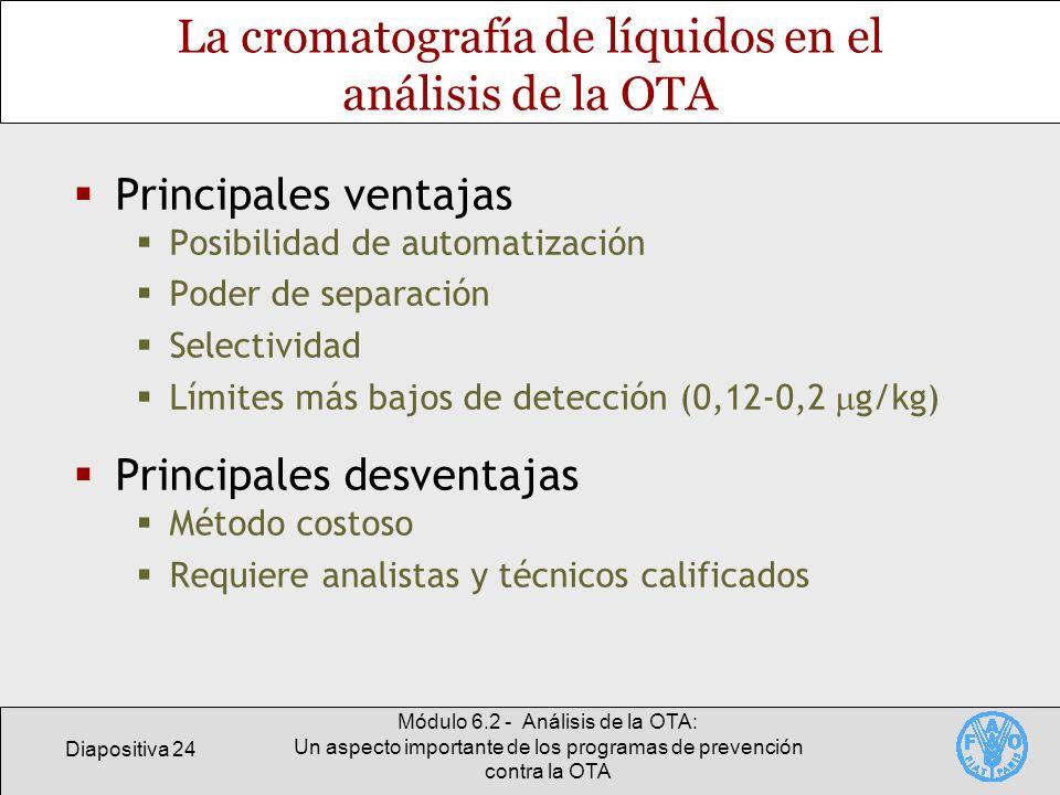 Diapositiva 24 Módulo 6.2 - Análisis de la OTA: Un aspecto importante de los programas de prevención contra la OTA La cromatografía de líquidos en el