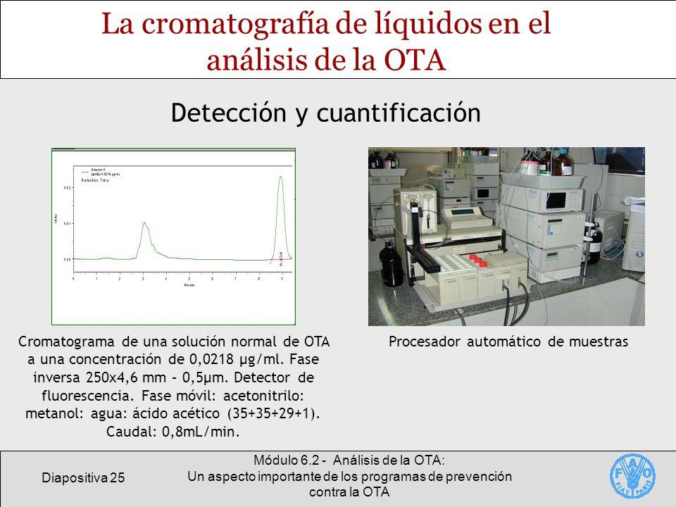 Diapositiva 25 Módulo 6.2 - Análisis de la OTA: Un aspecto importante de los programas de prevención contra la OTA La cromatografía de líquidos en el