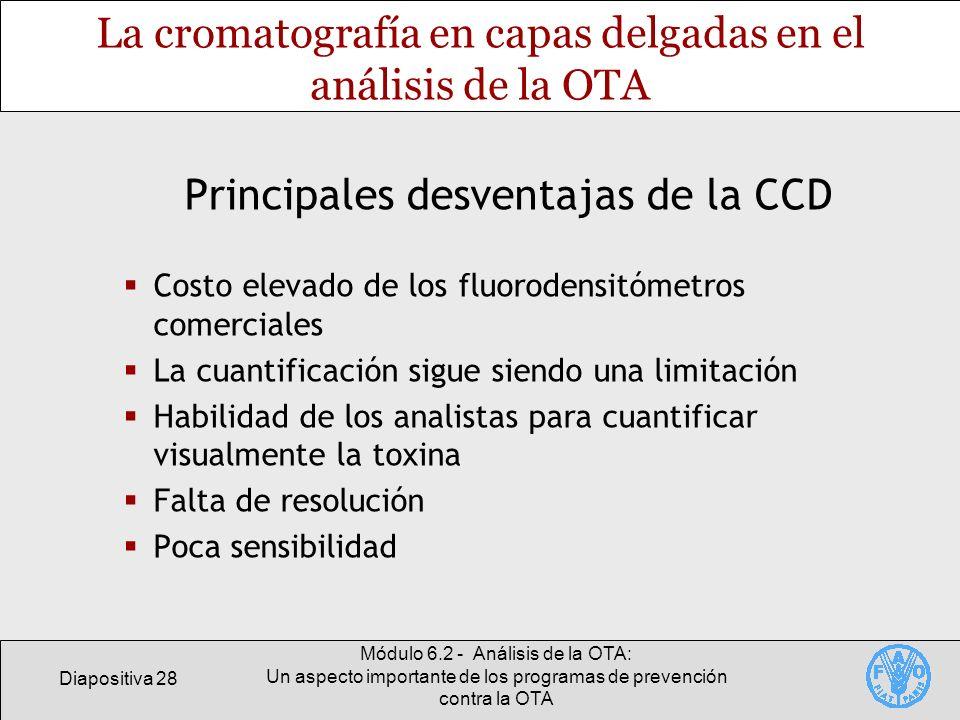 Diapositiva 28 Módulo 6.2 - Análisis de la OTA: Un aspecto importante de los programas de prevención contra la OTA La cromatografía en capas delgadas