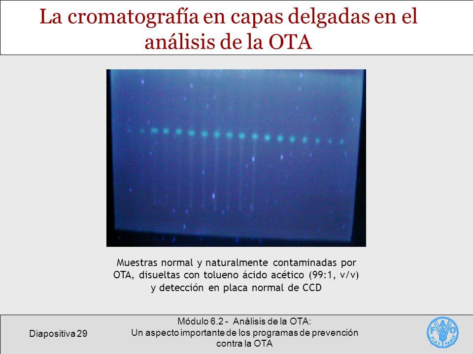 Diapositiva 29 Módulo 6.2 - Análisis de la OTA: Un aspecto importante de los programas de prevención contra la OTA La cromatografía en capas delgadas