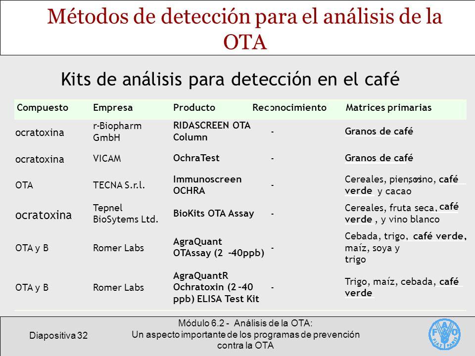 Diapositiva 32 Módulo 6.2 - Análisis de la OTA: Un aspecto importante de los programas de prevención contra la OTA Métodos de detección para el anális