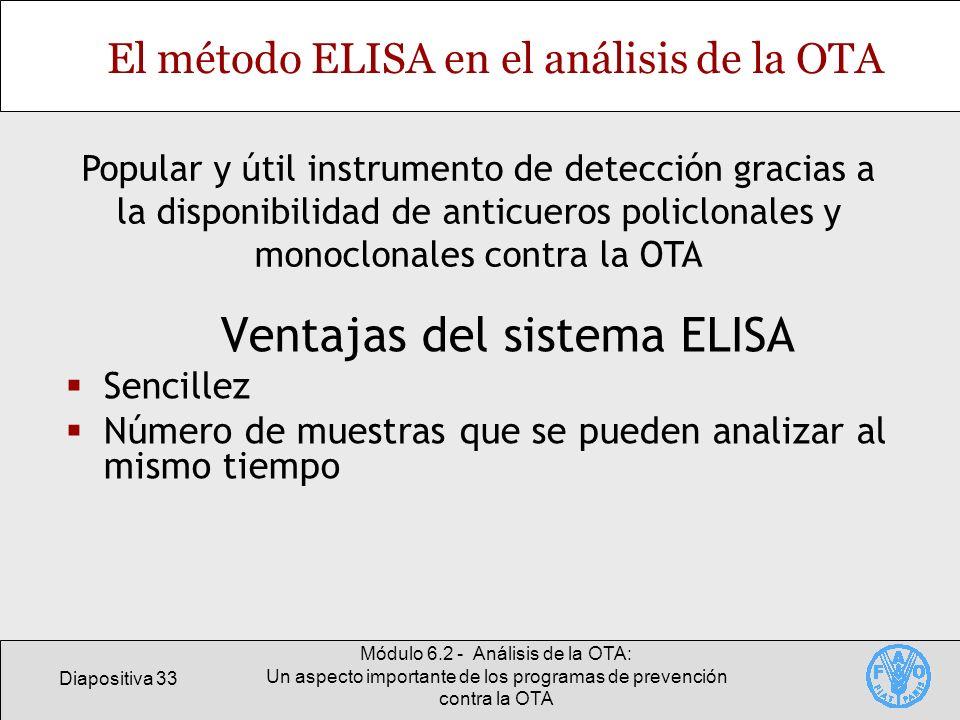 Diapositiva 33 Módulo 6.2 - Análisis de la OTA: Un aspecto importante de los programas de prevención contra la OTA El método ELISA en el análisis de l
