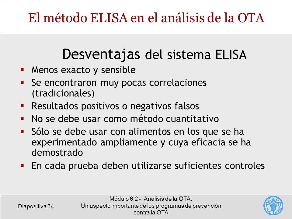 Diapositiva 34 Módulo 6.2 - Análisis de la OTA: Un aspecto importante de los programas de prevención contra la OTA El método ELISA en el análisis de l