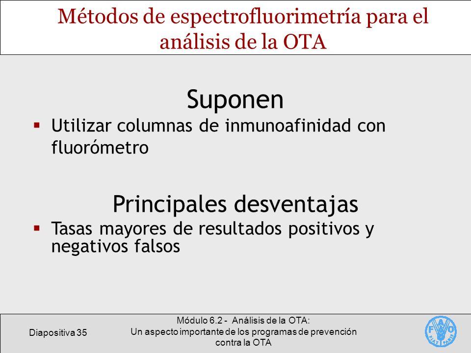 Diapositiva 35 Módulo 6.2 - Análisis de la OTA: Un aspecto importante de los programas de prevención contra la OTA Métodos de espectrofluorimetría par