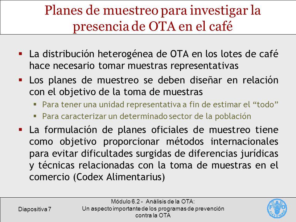 Diapositiva 7 Módulo 6.2 - Análisis de la OTA: Un aspecto importante de los programas de prevención contra la OTA Planes de muestreo para investigar l