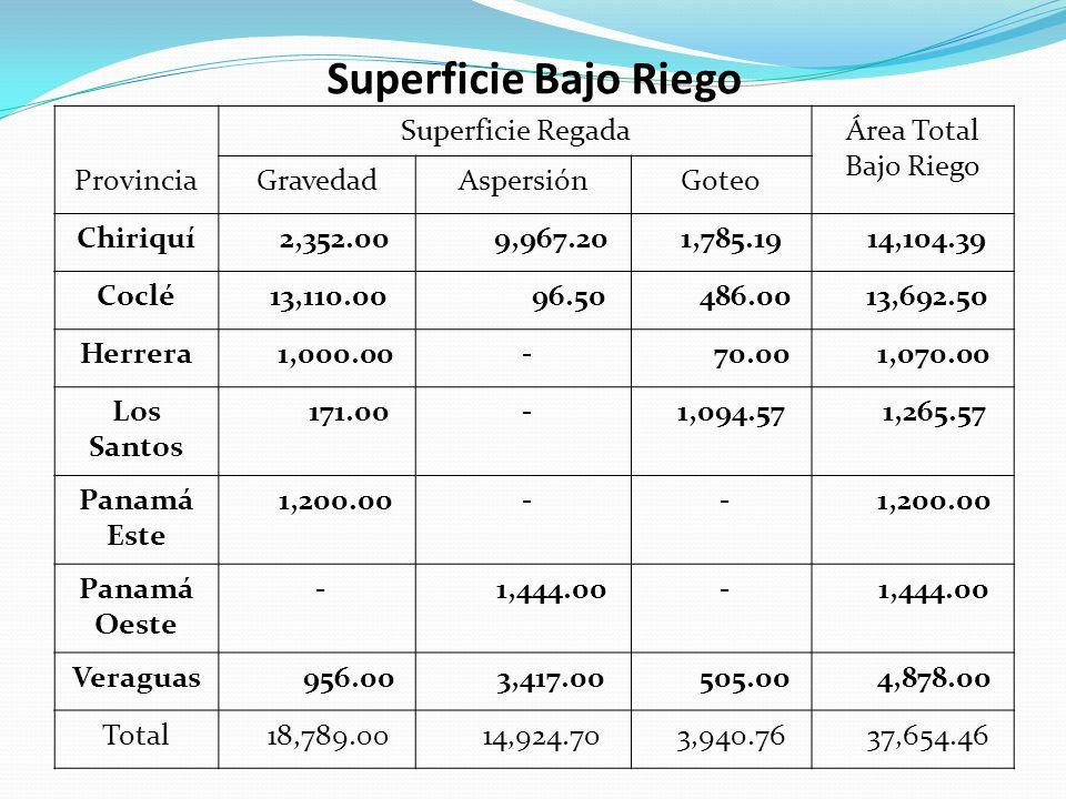 Superficie Bajo Riego Superficie RegadaÁrea Total Bajo Riego ProvinciaGravedadAspersiónGoteo Chiriquí 2,352.00 9,967.20 1,785.19 14,104.39 Coclé 13,11