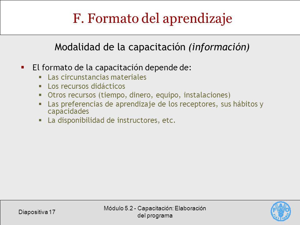 Diapositiva 17 Módulo 5.2 - Capacitación: Elaboración del programa F.