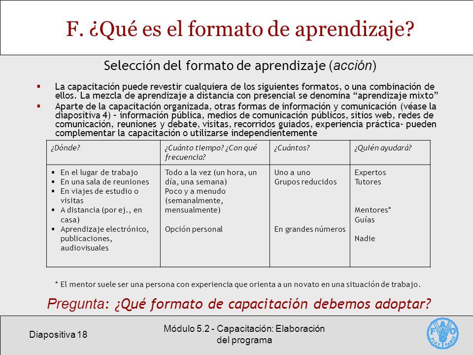 Diapositiva 18 Módulo 5.2 - Capacitación: Elaboración del programa F.