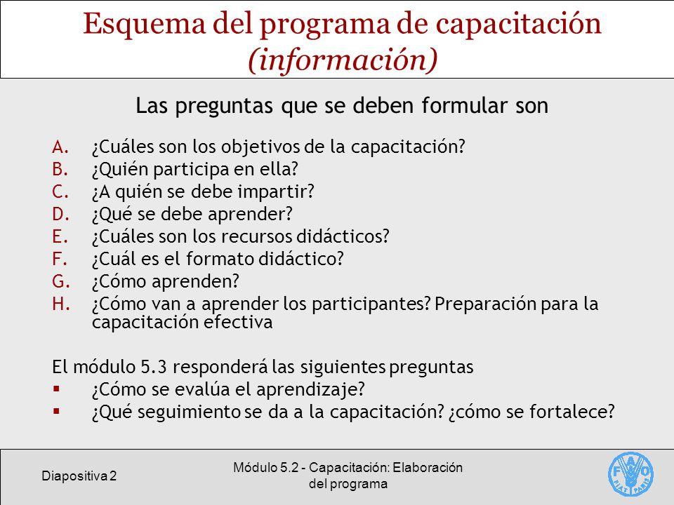 Diapositiva 2 Módulo 5.2 - Capacitación: Elaboración del programa Esquema del programa de capacitación (información) A.¿Cuáles son los objetivos de la capacitación.