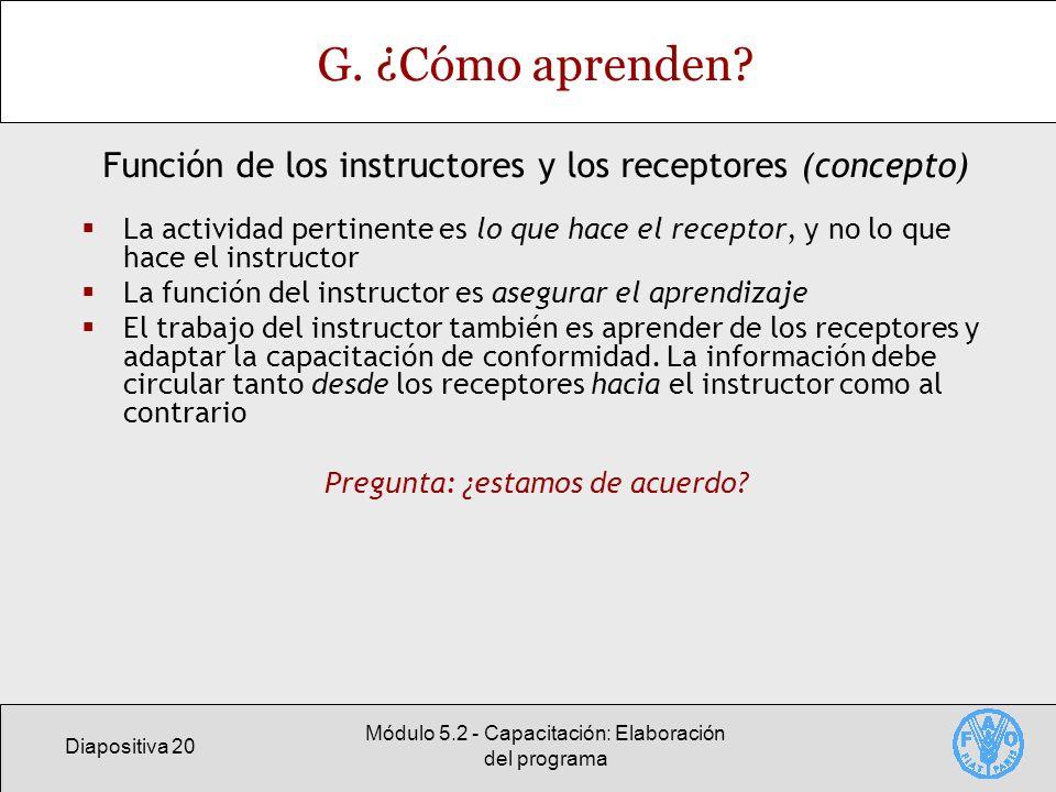 Diapositiva 20 Módulo 5.2 - Capacitación: Elaboración del programa G.