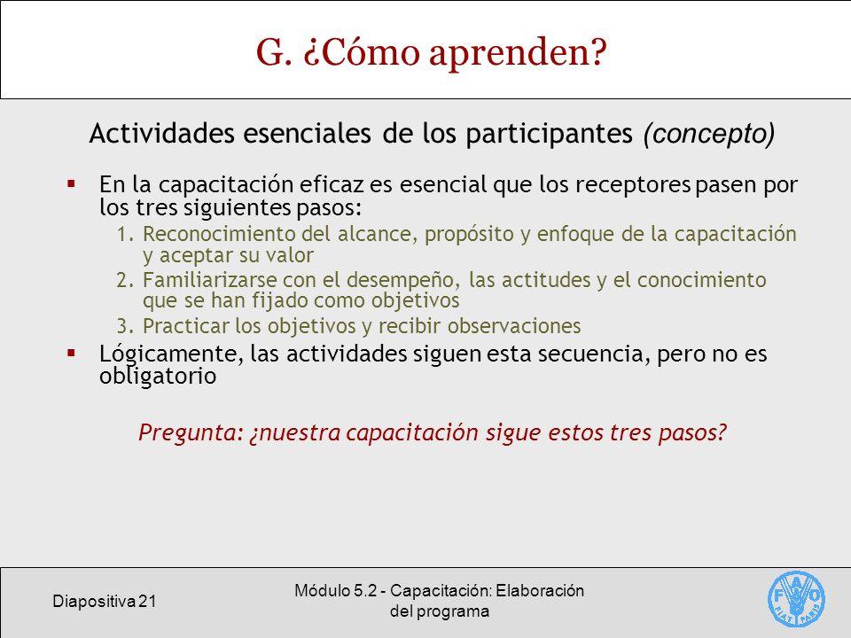 Diapositiva 21 Módulo 5.2 - Capacitación: Elaboración del programa G.