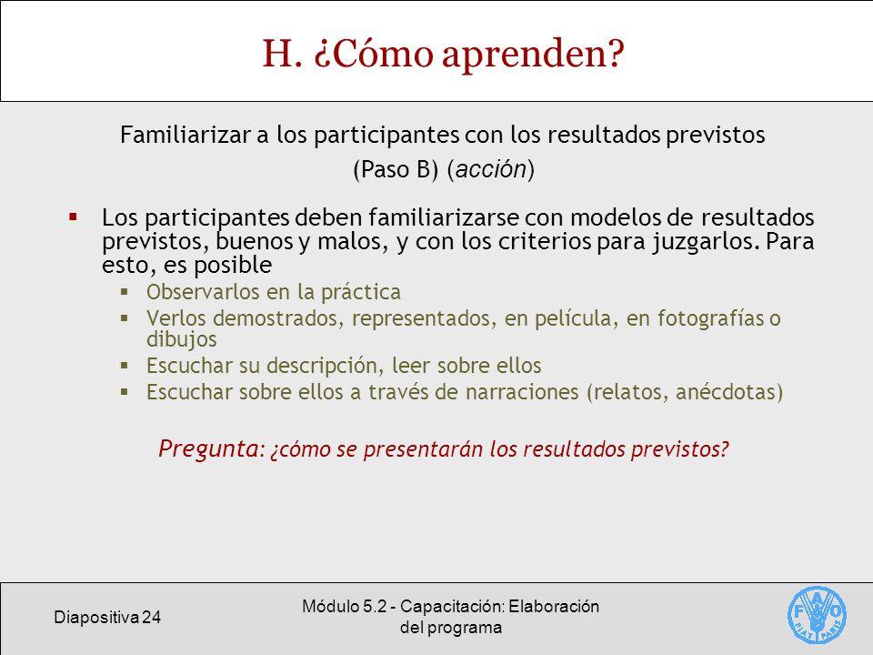 Diapositiva 24 Módulo 5.2 - Capacitación: Elaboración del programa H.