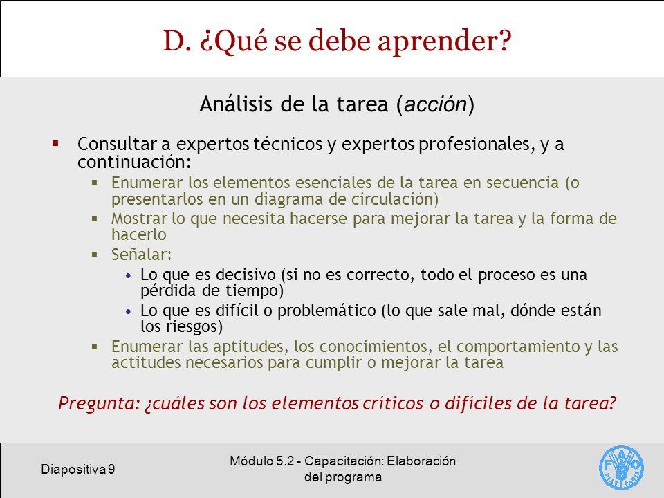 Diapositiva 9 Módulo 5.2 - Capacitación: Elaboración del programa D.