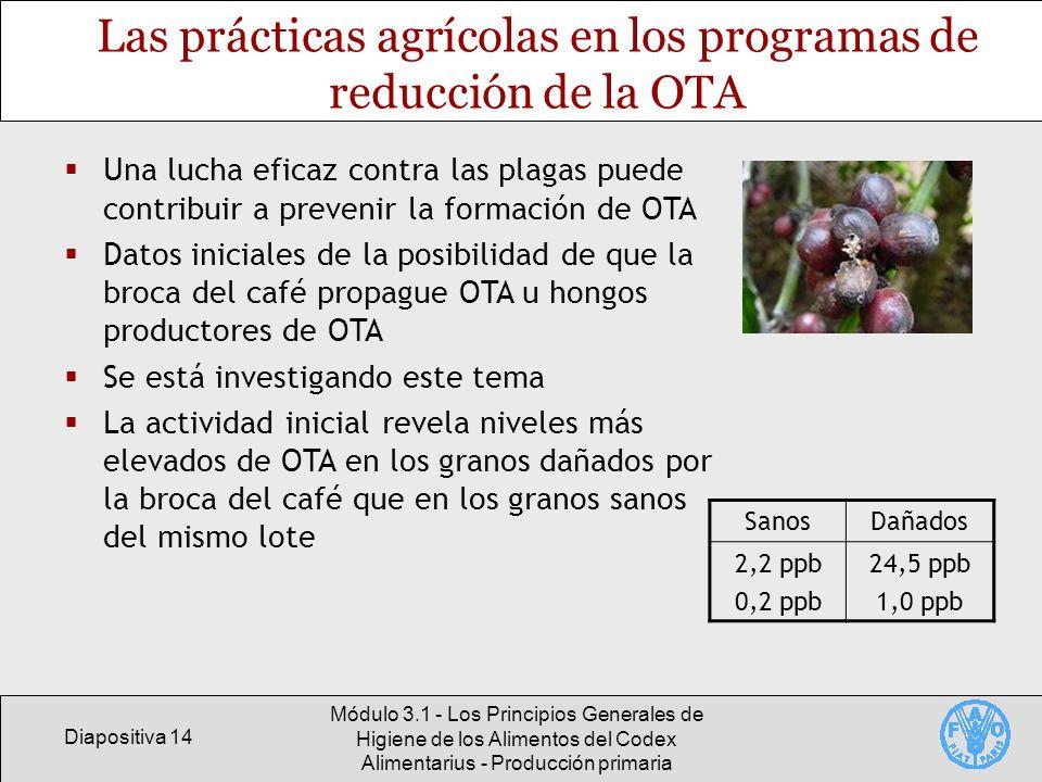 Diapositiva 14 Módulo 3.1 - Los Principios Generales de Higiene de los Alimentos del Codex Alimentarius - Producción primaria Las prácticas agrícolas