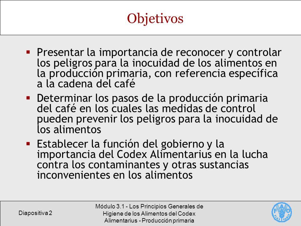 Diapositiva 3 Módulo 3.1 - Los Principios Generales de Higiene de los Alimentos del Codex Alimentarius - Producción primaria Contenido Alcance, esquema y objetivos de la sección III de los Principios Generales de Higiene de los Alimentos del Codex, Producción primaria Aplicación de los principios de higiene de los alimentos a la producción primaria del café Directrices reglamentarias y medidas para promover una producción primaria sana
