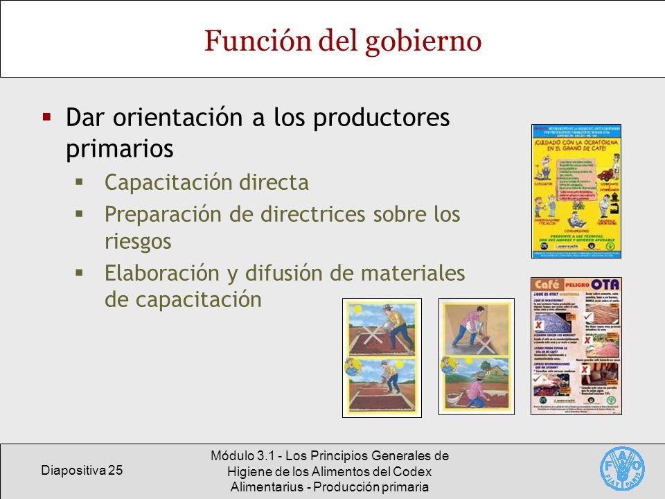 Diapositiva 25 Módulo 3.1 - Los Principios Generales de Higiene de los Alimentos del Codex Alimentarius - Producción primaria Función del gobierno Dar
