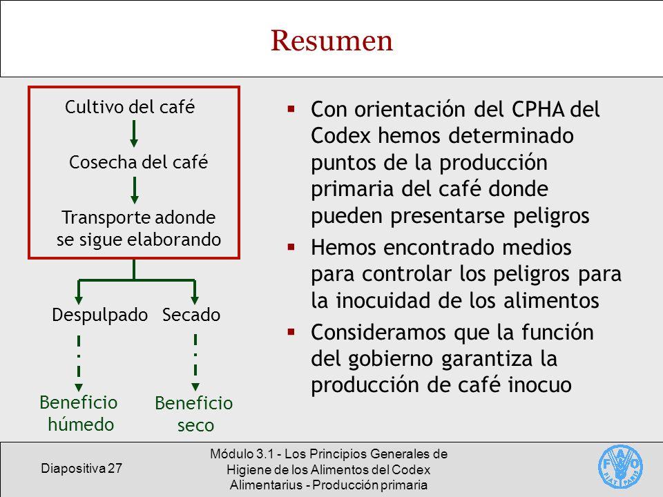 Diapositiva 27 Módulo 3.1 - Los Principios Generales de Higiene de los Alimentos del Codex Alimentarius - Producción primaria Resumen Con orientación