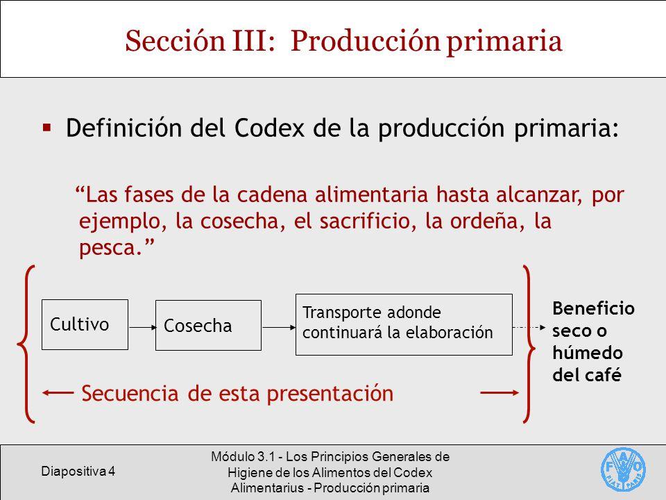 Diapositiva 25 Módulo 3.1 - Los Principios Generales de Higiene de los Alimentos del Codex Alimentarius - Producción primaria Función del gobierno Dar orientación a los productores primarios Capacitación directa Preparación de directrices sobre los riesgos Elaboración y difusión de materiales de capacitación