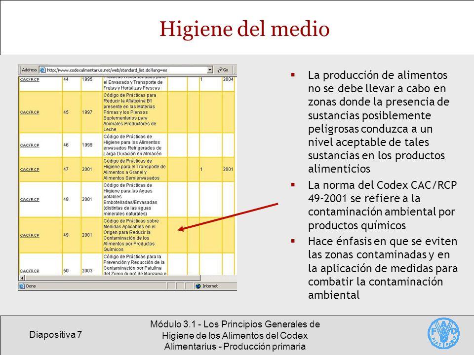 Diapositiva 18 Módulo 3.1 - Los Principios Generales de Higiene de los Alimentos del Codex Alimentarius - Producción primaria Buenas prácticas en la producción de café Contenido de OTA en muestras, a 12 días del secado (Uganda, julio de 2002) Algunas indicaciones sobre el grado de madurez Estado de madurez OTA (ppb) BeansHusk Bayas inmaduras Bayas maduras Bayas pasadas 0.3 0.6 2.1 2.6 26.7 59.3