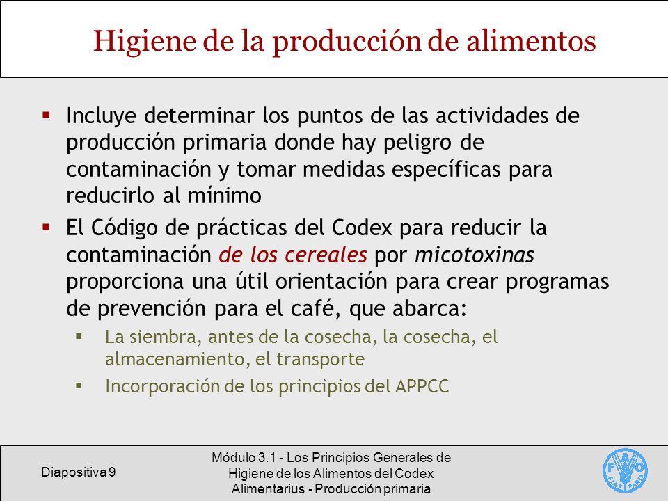 Diapositiva 10 Módulo 3.1 - Los Principios Generales de Higiene de los Alimentos del Codex Alimentarius - Producción primaria Producción de café (sistemas de cultivo) Cafetal abiertoCafetal intercalado con bananos Café y cacahuetesCafé de sombra