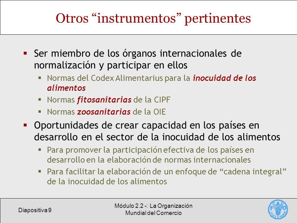 Diapositiva 9 Módulo 2.2 -: La Organización Mundial del Comercio Otros instrumentos pertinentes Ser miembro de los órganos internacionales de normaliz