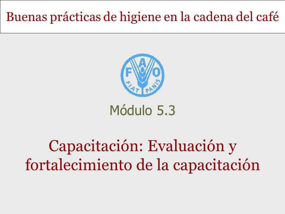 Buenas prácticas de higiene en la cadena del café Capacitación: Evaluación y fortalecimiento de la capacitación Módulo 5.3