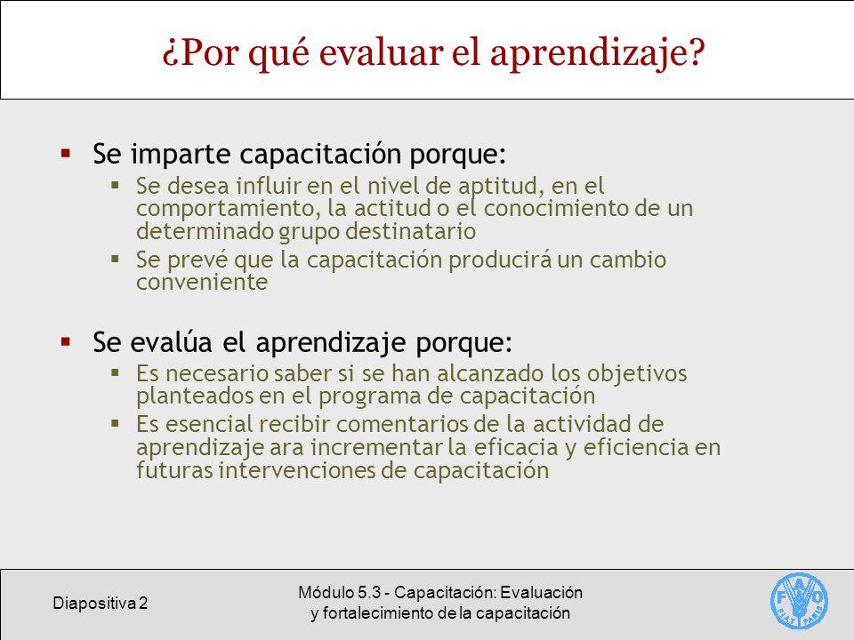 Diapositiva 3 Módulo 5.3 - Capacitación: Evaluación y fortalecimiento de la capacitación Evaluación: Una parte integral del ciclo de capacitación La preparación de una actividad de capacitación debe incluir la planificación de la evaluación del aprendizaje.