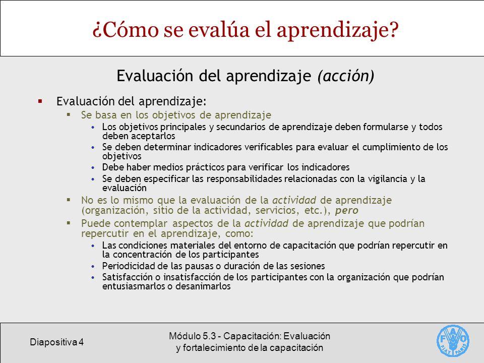Diapositiva 4 Módulo 5.3 - Capacitación: Evaluación y fortalecimiento de la capacitación ¿Cómo se evalúa el aprendizaje? Evaluación del aprendizaje: S