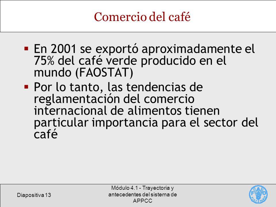 Diapositiva 13 Módulo 4.1 - Trayectoria y antecedentes del sistema de APPCC Comercio del café En 2001 se exportó aproximadamente el 75% del café verde