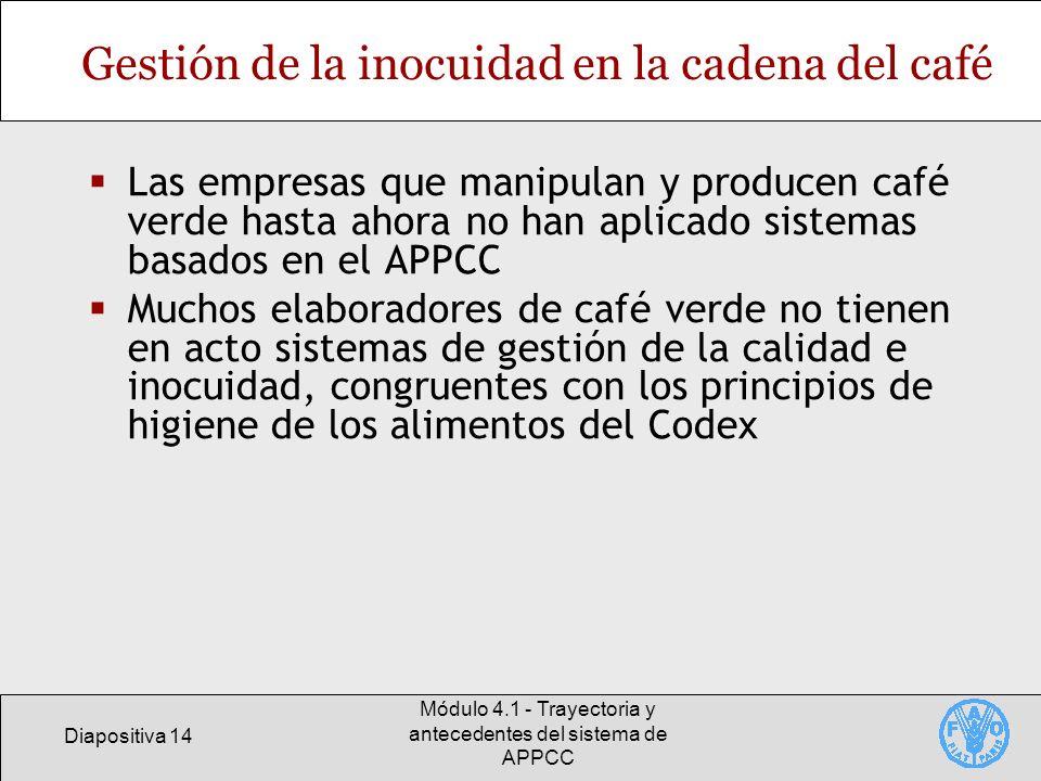 Diapositiva 14 Módulo 4.1 - Trayectoria y antecedentes del sistema de APPCC Gestión de la inocuidad en la cadena del café Las empresas que manipulan y