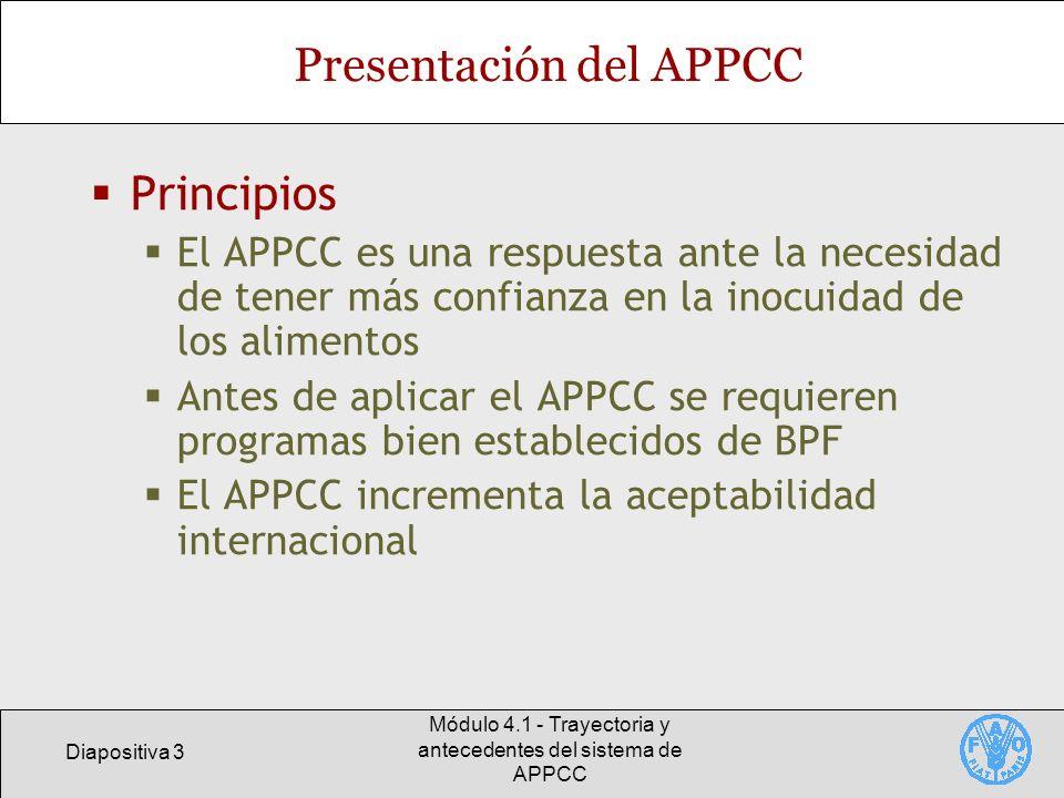 Diapositiva 3 Módulo 4.1 - Trayectoria y antecedentes del sistema de APPCC Presentación del APPCC Principios El APPCC es una respuesta ante la necesid