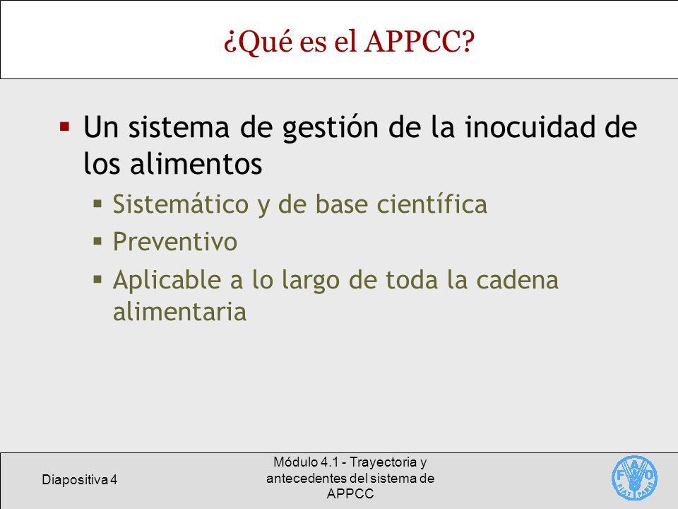 Diapositiva 4 Módulo 4.1 - Trayectoria y antecedentes del sistema de APPCC ¿Qué es el APPCC? Un sistema de gestión de la inocuidad de los alimentos Si