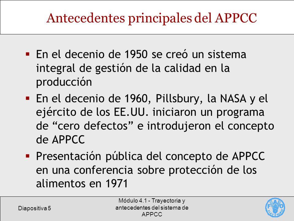 Diapositiva 6 Módulo 4.1 - Trayectoria y antecedentes del sistema de APPCC Antecedentes principales del APPCC La USFDA utiliza los principios del APPCC en 1974 para reglamentar los alimentos envasados En el decenio de 1980 las principales empresas alimentarias adoptan el sistema del APPCC La Academia de Ciencias de los Estados Unidos recomendó en 1985 la adopción del sistema del APPCC en los establecimientos alimentarios
