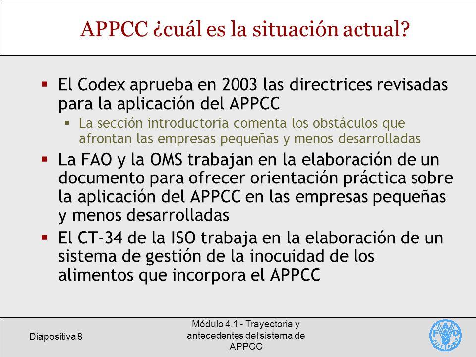 Diapositiva 8 Módulo 4.1 - Trayectoria y antecedentes del sistema de APPCC APPCC ¿cuál es la situación actual? El Codex aprueba en 2003 las directrice