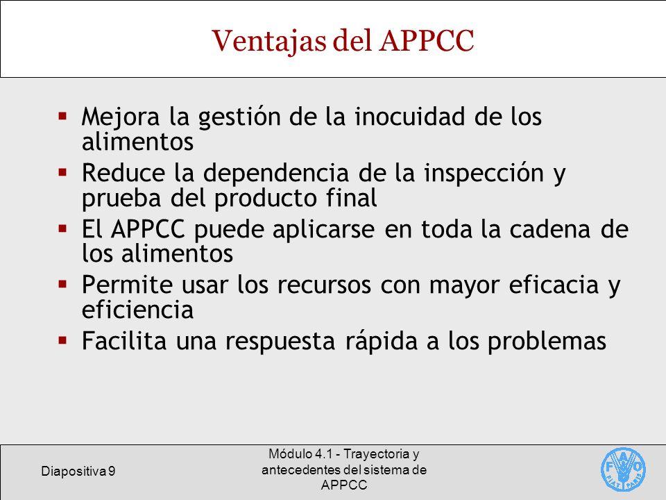 Diapositiva 10 Módulo 4.1 - Trayectoria y antecedentes del sistema de APPCC Ventajas del APPCC Incrementa la responsabilidad y mejora el grado de control a nivel de la industria alimentaria Hace participar más a los elaboradores de alimentos en la garantía de la inocuidad de los alimentos Es compatible con los programas de gestión de la calidad Puede contribuir a la inspección por parte de las autoridades normativas Incrementa la confianza de los compradores internacionales