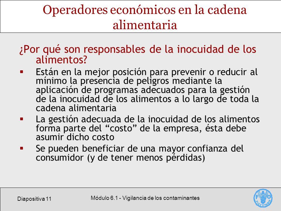 Diapositiva 11 Módulo 6.1 - Vigilancia de los contaminantes Operadores económicos en la cadena alimentaria ¿Por qué son responsables de la inocuidad d