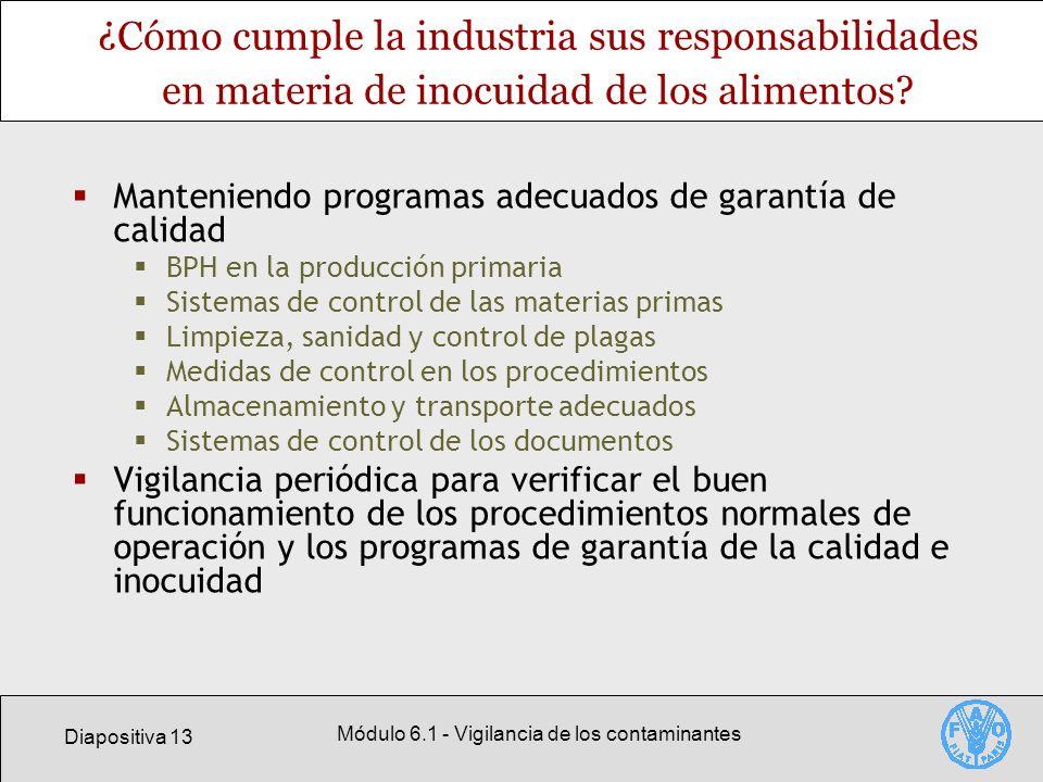 Diapositiva 13 Módulo 6.1 - Vigilancia de los contaminantes ¿Cómo cumple la industria sus responsabilidades en materia de inocuidad de los alimentos?