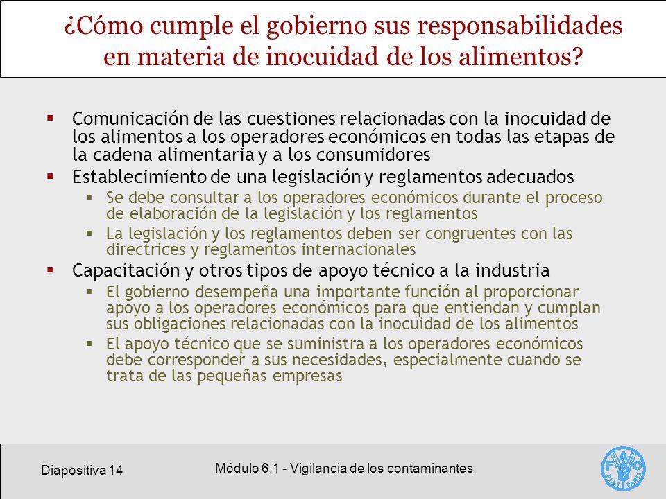 Diapositiva 14 Módulo 6.1 - Vigilancia de los contaminantes ¿Cómo cumple el gobierno sus responsabilidades en materia de inocuidad de los alimentos? C