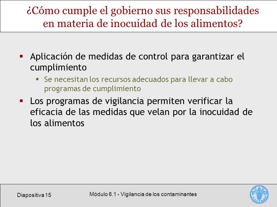 Diapositiva 15 Módulo 6.1 - Vigilancia de los contaminantes ¿Cómo cumple el gobierno sus responsabilidades en materia de inocuidad de los alimentos? A
