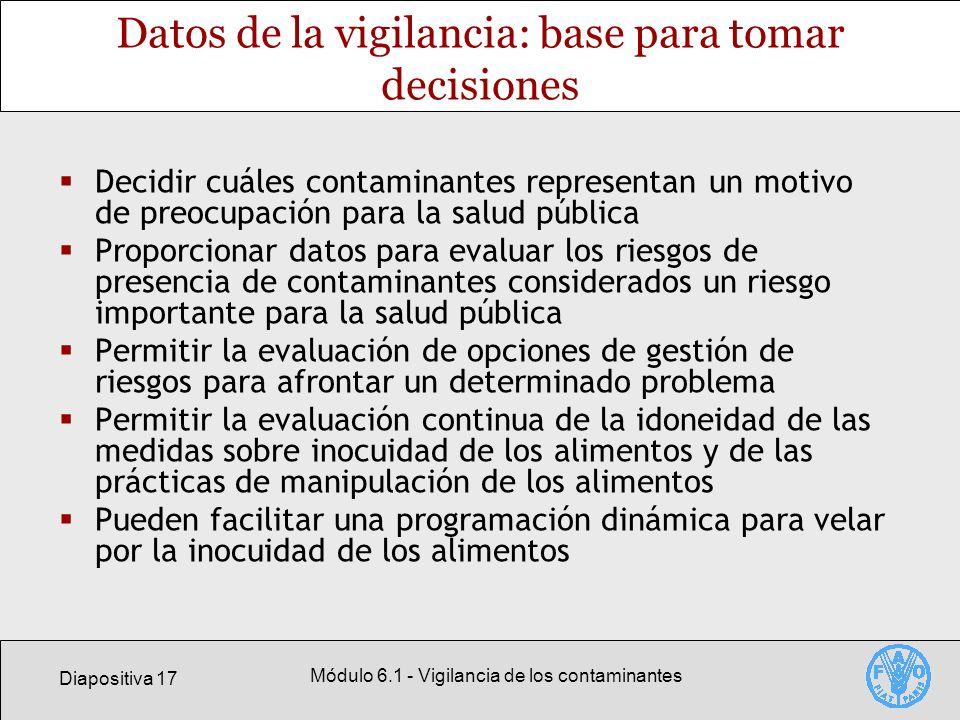 Diapositiva 17 Módulo 6.1 - Vigilancia de los contaminantes Datos de la vigilancia: base para tomar decisiones Decidir cuáles contaminantes representa