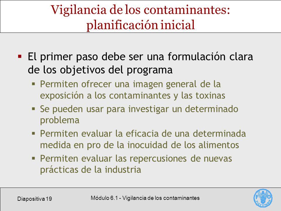 Diapositiva 19 Módulo 6.1 - Vigilancia de los contaminantes Vigilancia de los contaminantes: planificación inicial El primer paso debe ser una formula