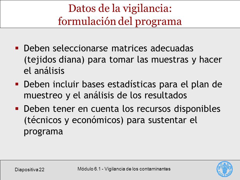 Diapositiva 22 Módulo 6.1 - Vigilancia de los contaminantes Datos de la vigilancia: formulación del programa Deben seleccionarse matrices adecuadas (t