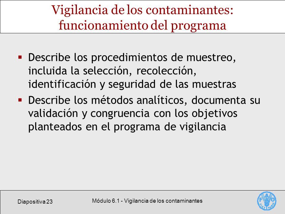 Diapositiva 23 Módulo 6.1 - Vigilancia de los contaminantes Vigilancia de los contaminantes: funcionamiento del programa Describe los procedimientos d