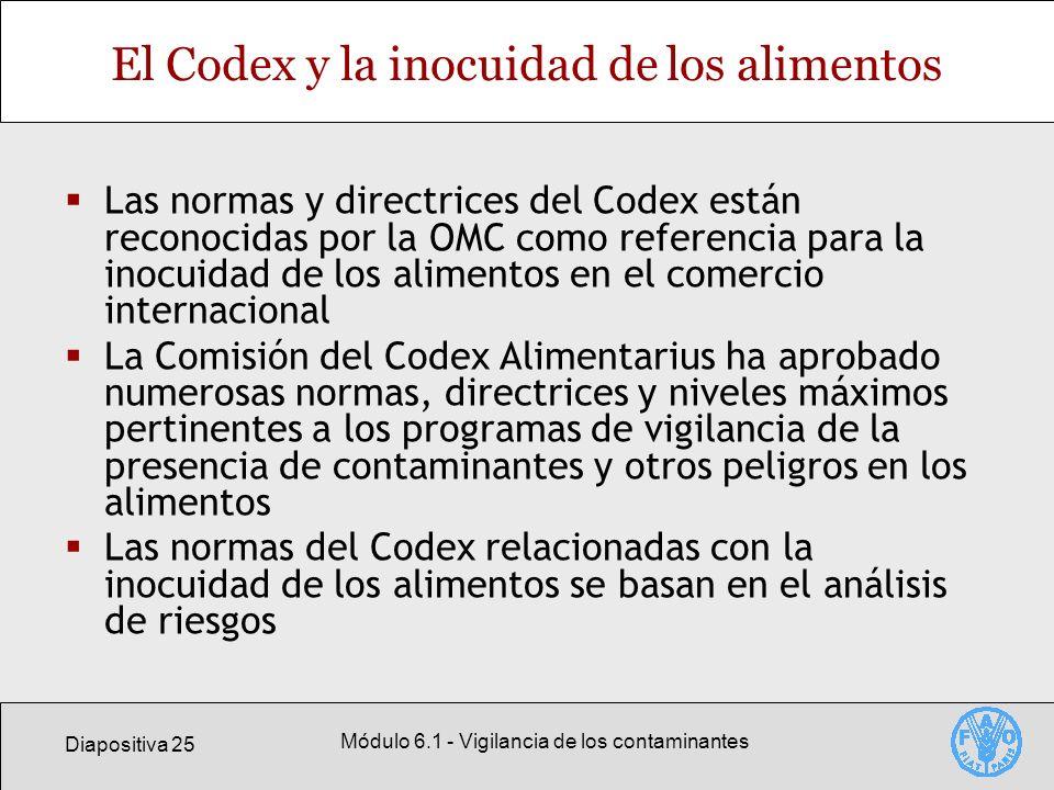 Diapositiva 25 Módulo 6.1 - Vigilancia de los contaminantes El Codex y la inocuidad de los alimentos Las normas y directrices del Codex están reconoci