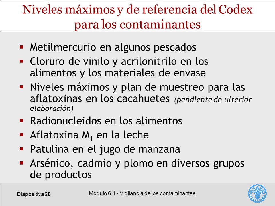Diapositiva 28 Módulo 6.1 - Vigilancia de los contaminantes Niveles máximos y de referencia del Codex para los contaminantes Metilmercurio en algunos